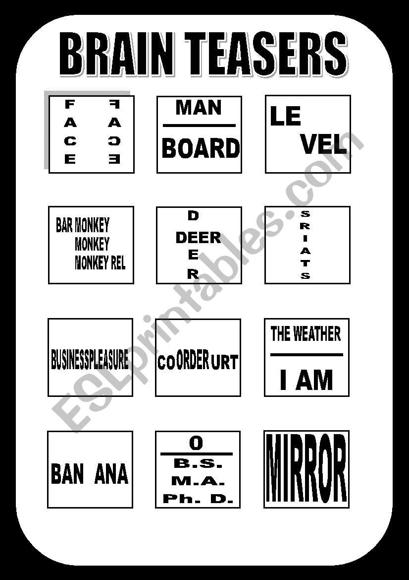 Brain Teaser Worksheets Brain Teasers Esl Worksheet by Marlon Arana