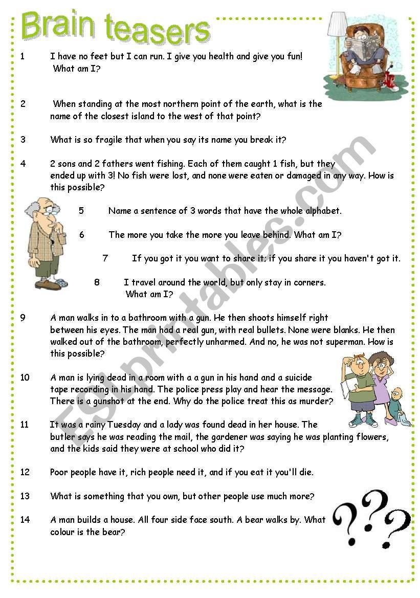 Brain Teaser Worksheets Brain Teasers Esl Worksheet by Pocza