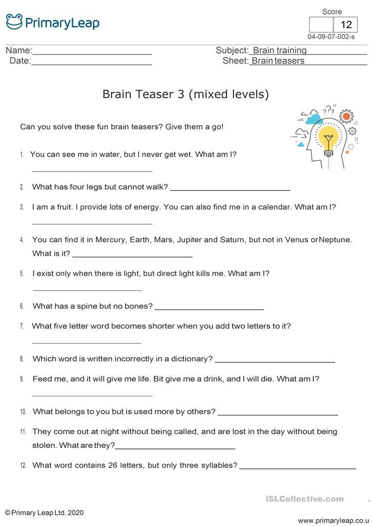 Brain Teaser Worksheets Fun Brain Teasers 3 English Esl Worksheets for Distance