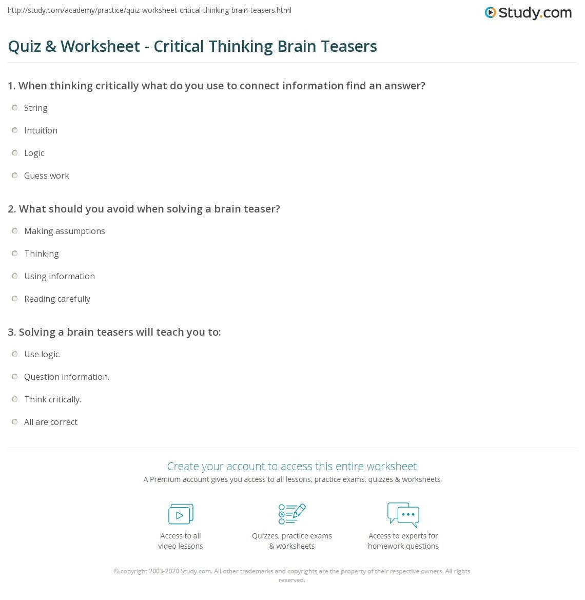 Brain Teaser Worksheets Quiz & Worksheet Critical Thinking Brain Teasers