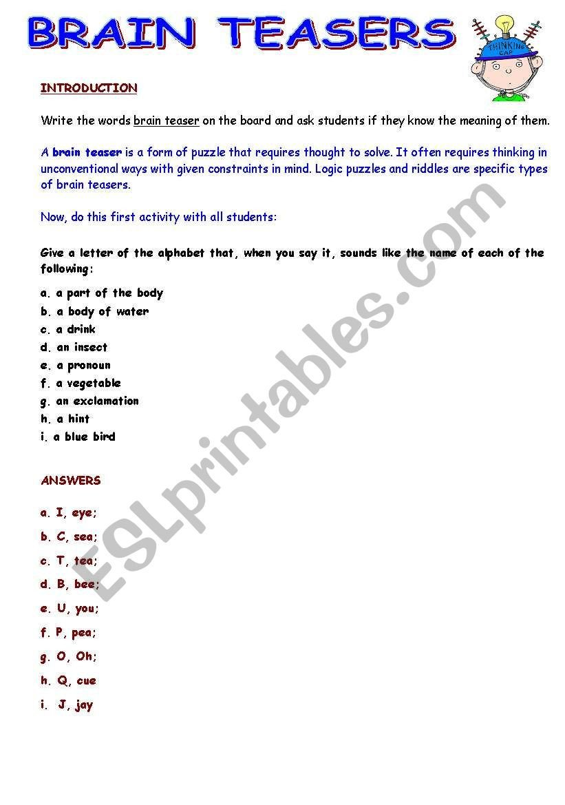 Brain Teaser Worksheets Speaking Activity with Brain Teasers Esl Worksheet by