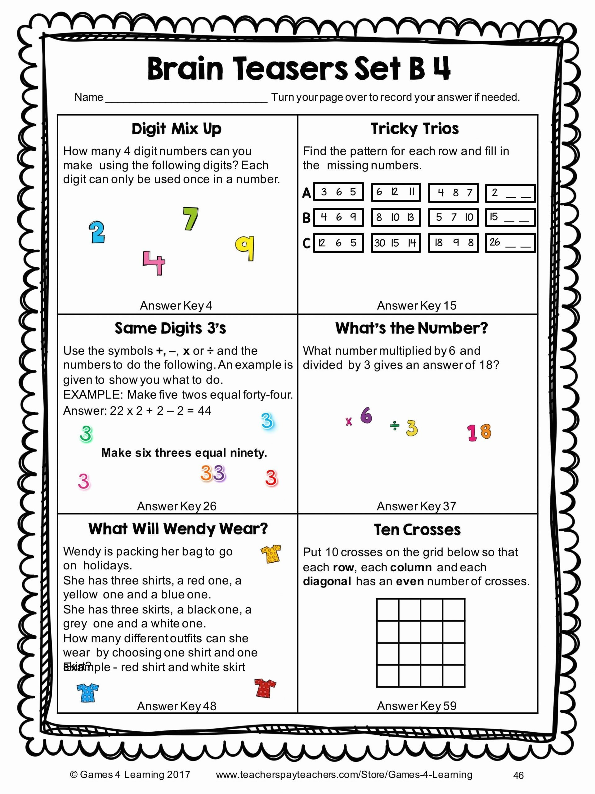 Brain Teasers Worksheet 2 Answers 6th Grade Brain Teasers Worksheets