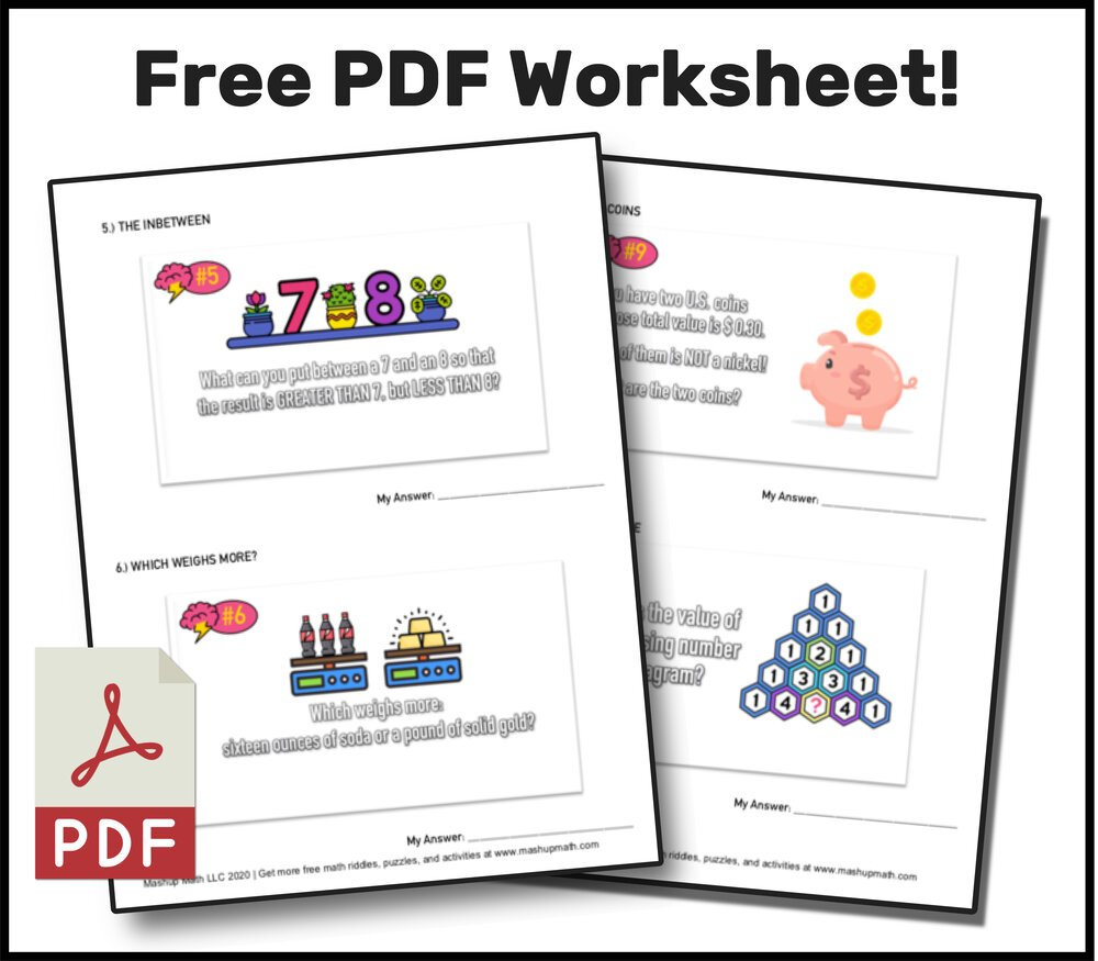 Brain Teasers Worksheets Pdf 10 Super Fun Math Riddles for Kids Ages 10 with Answers