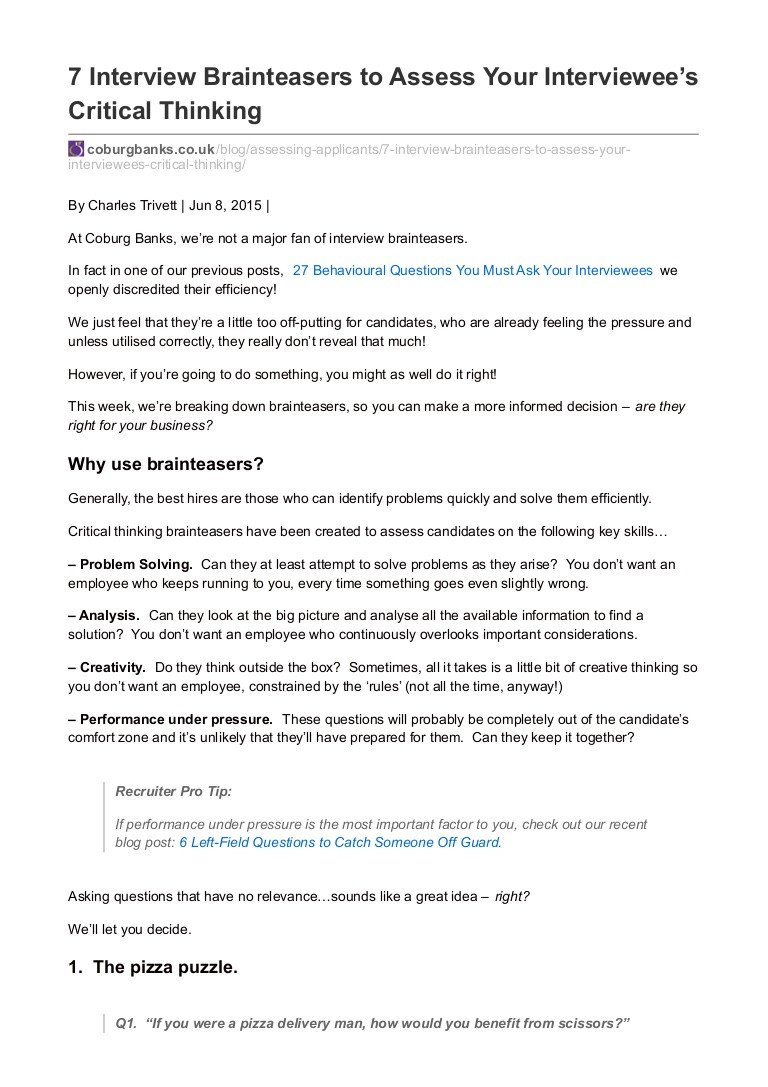 Brain Teasers Worksheets Pdf 7 Interview Brainteasers to assess Your Interviewees