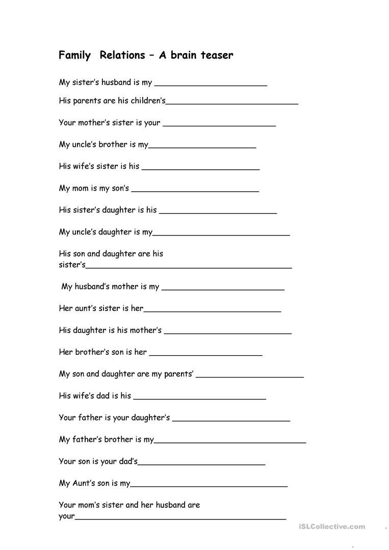 family relations brain teaser english esl worksheets for pre nursery activities