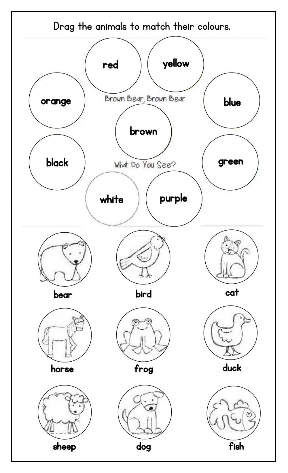 Brown Bear Brown Bear Worksheets Brown Bear Brown Bear What Do You See Interactive Worksheet