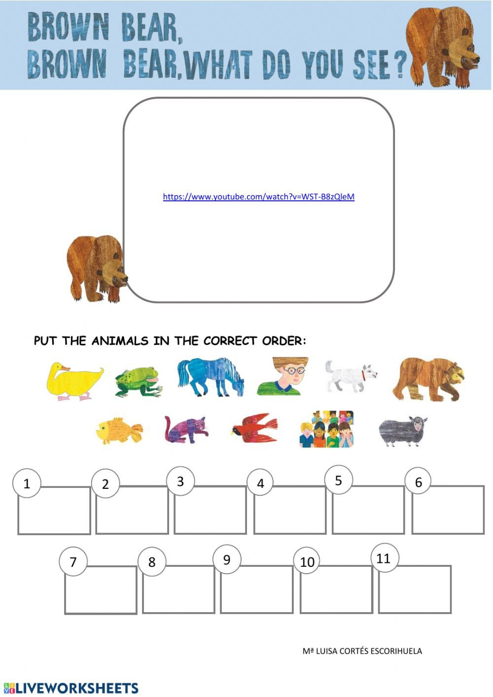 Brown Bear Brown Bear Worksheets Brown Bear Interactive Worksheet