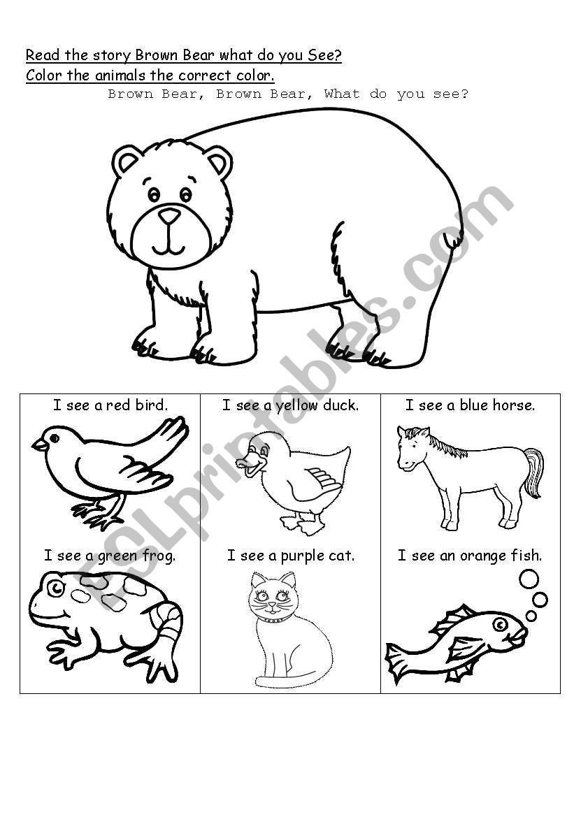 Brown Bear Brown Bear Worksheets Brown Bear What Do You See Esl Worksheet by Whiteheads
