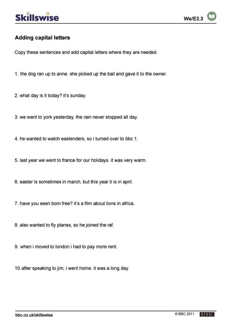 Capitalization Worksheets 4th Grade Pdf Best Worksheets by Lura