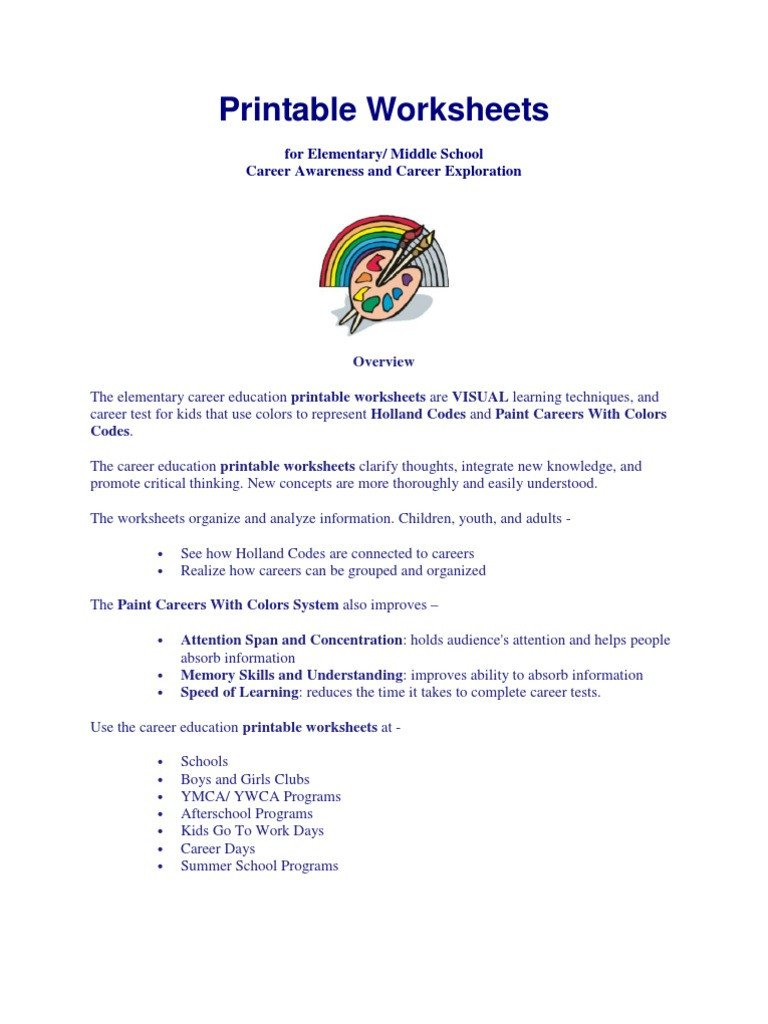 Career Worksheets for Middle School Career Exploration Printable Worksheets Worksheet