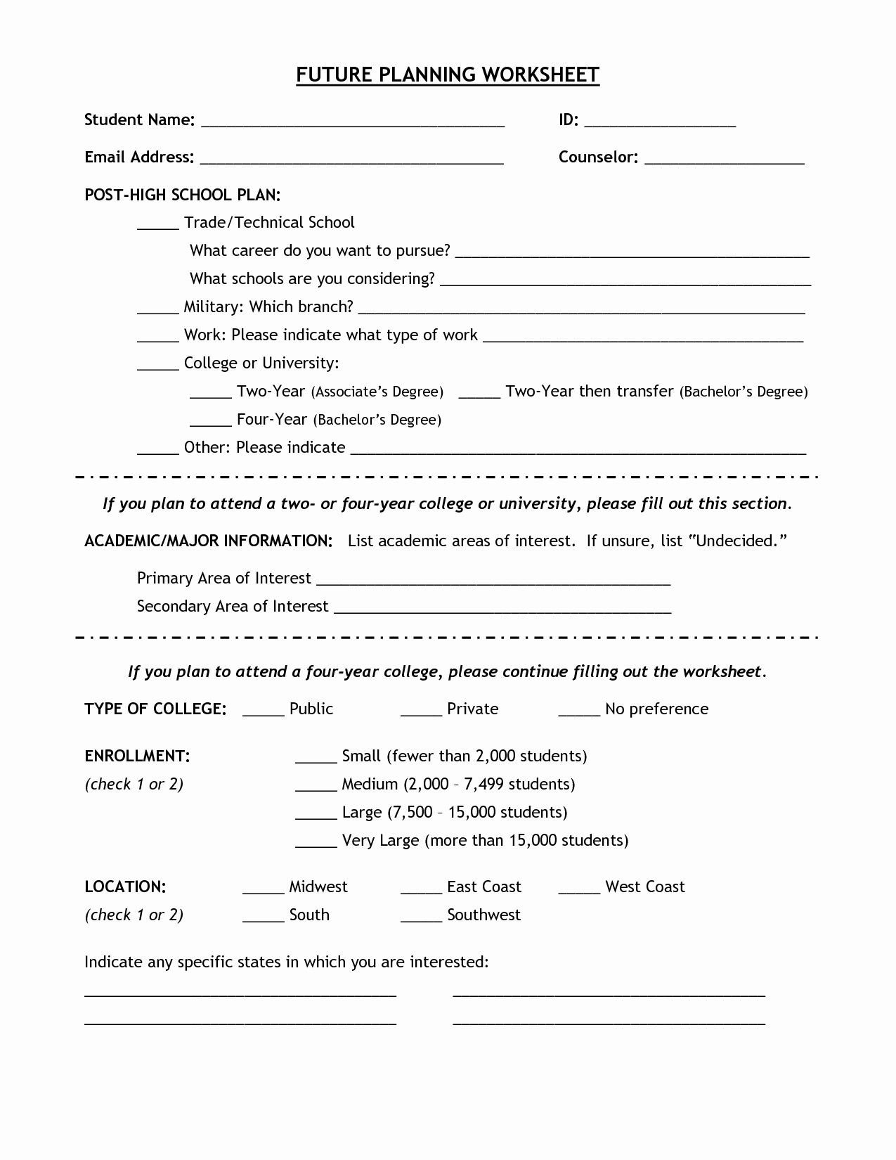 Career Worksheets for Middle School Future Career Plan Example Awesome 7 Best Worksheets