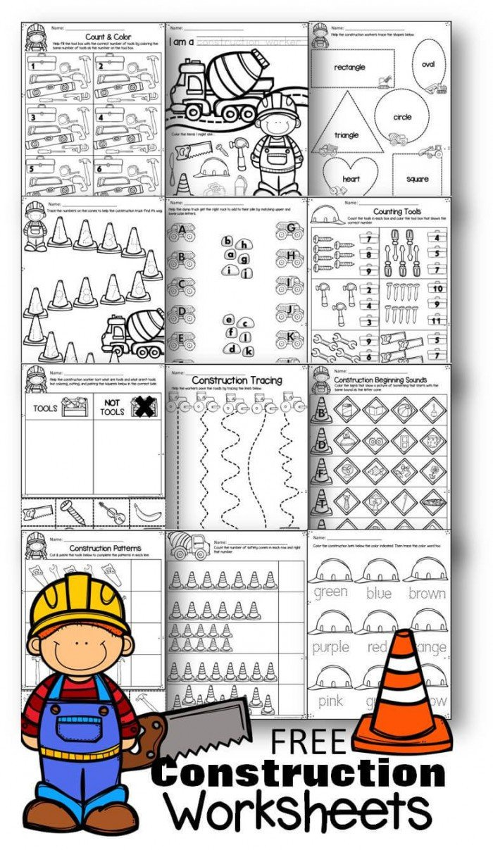 free construction worksheets 4
