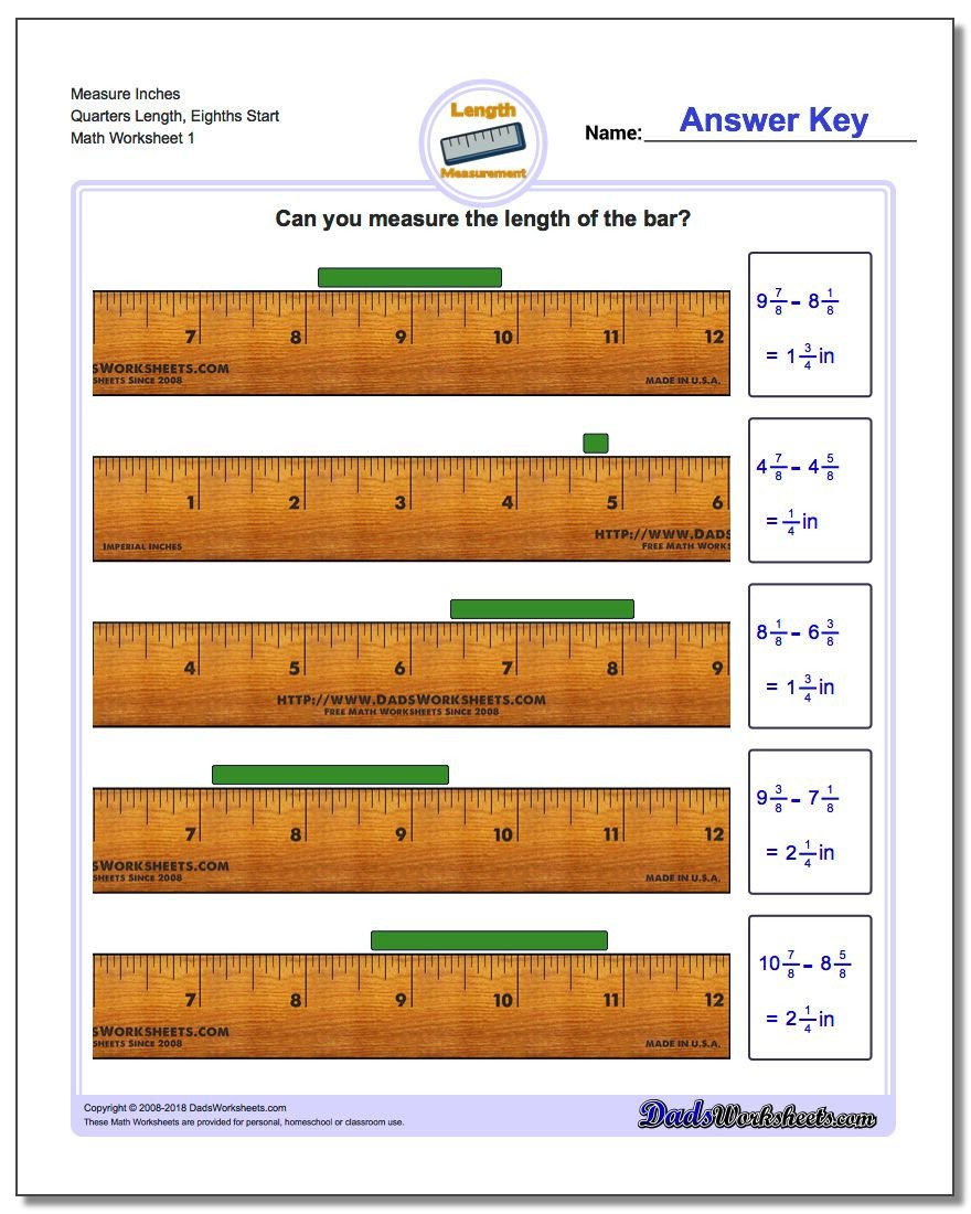 Carpentry Math Worksheets Inches Measurement