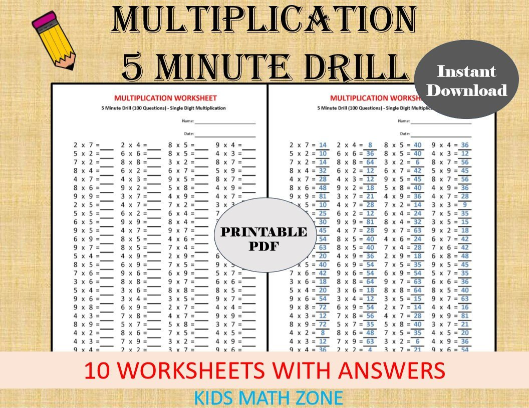 Carpentry Math Worksheets Multiplication 5 Minute Drill Worksheets with Answers Pdf Year 2 3 4 Grade 2 3 4 Printable Worksheets Basic Multiplication