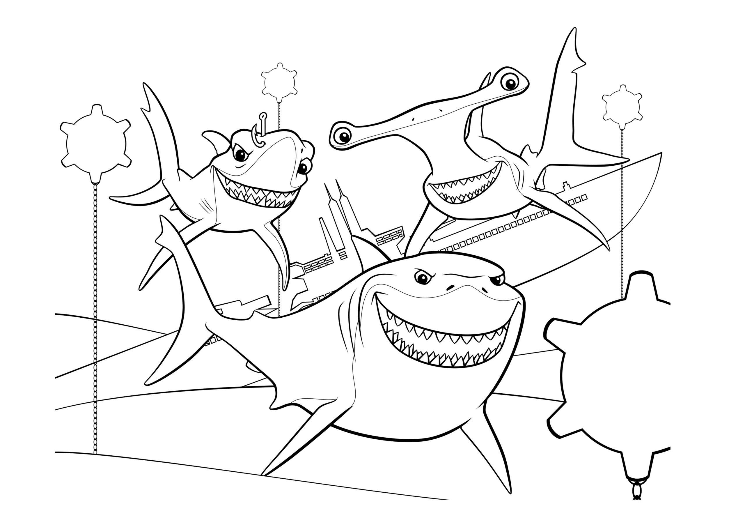viewourwork nemo shark coloring finding printables sharks anchor bruce and chum hooked on math carpentry worksheets multiplication division year grade workbook touch activities scaled