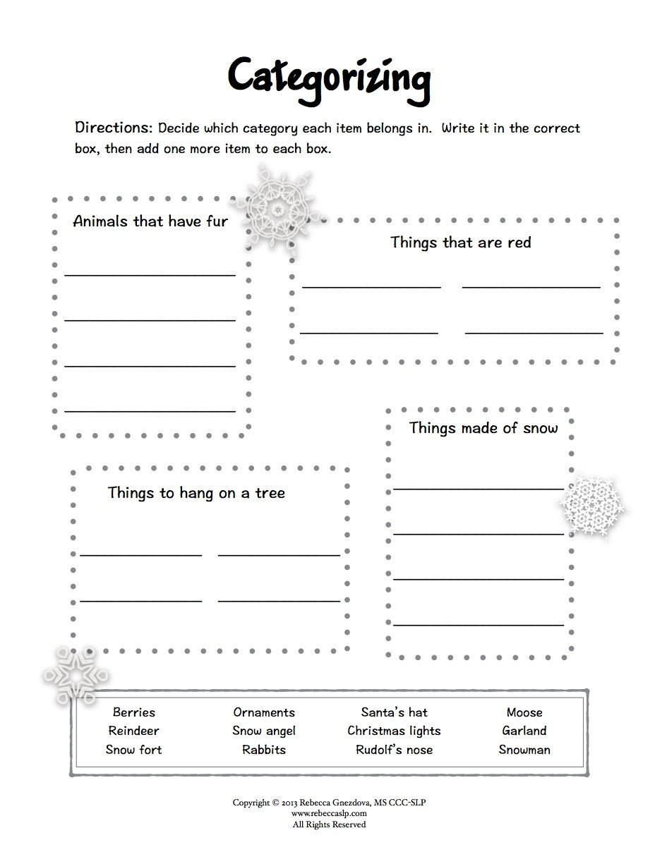 Categorizing Worksheets for 1st Grade Freebie Expressive Language Worksheets
