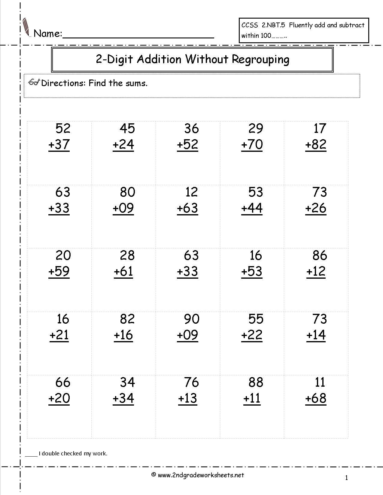 free addition printable worksheets two digit with no regrouping math multiplying