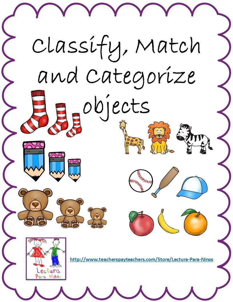 Categorizing Worksheets for Kindergarten Classify Match & Categorize Objects these Go Along with
