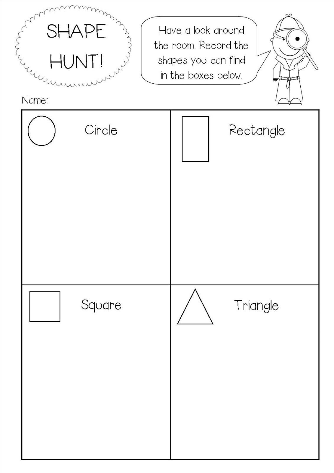 Categorizing Worksheets for Kindergarten Shape Hunt Worksheet