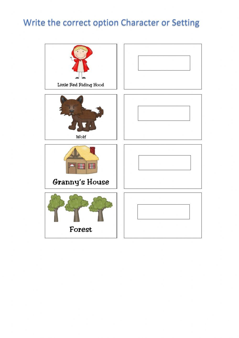 Character and Setting Worksheets Character and Settings Interactive Worksheet