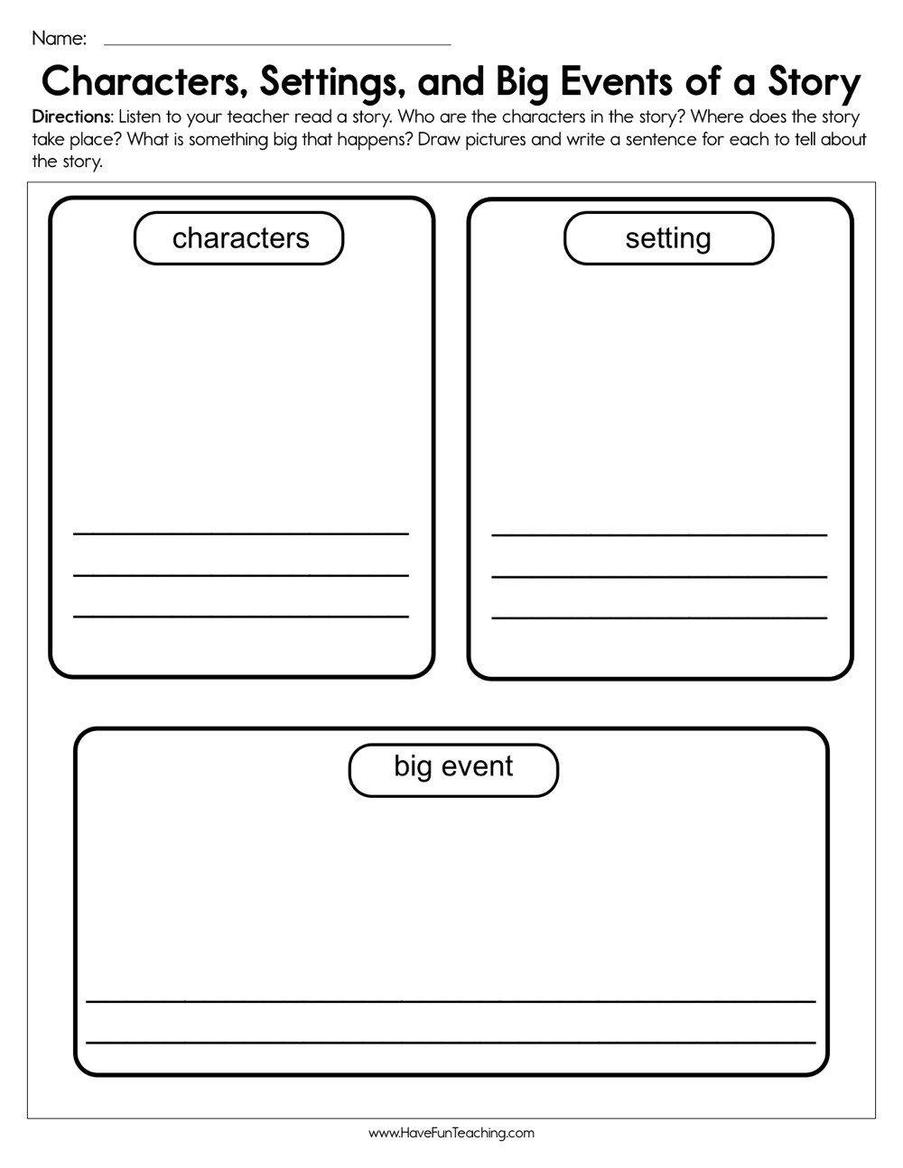 characters settings and big events worksheet
