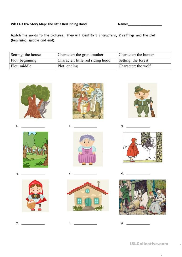 Character and Setting Worksheets Story Element Matching the Little Red Riding Hood English