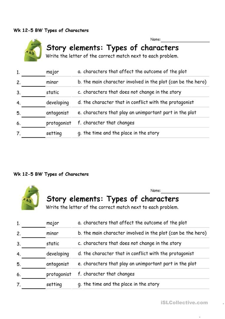 Character and Setting Worksheets Types Of Characters English Esl Worksheets for Distance