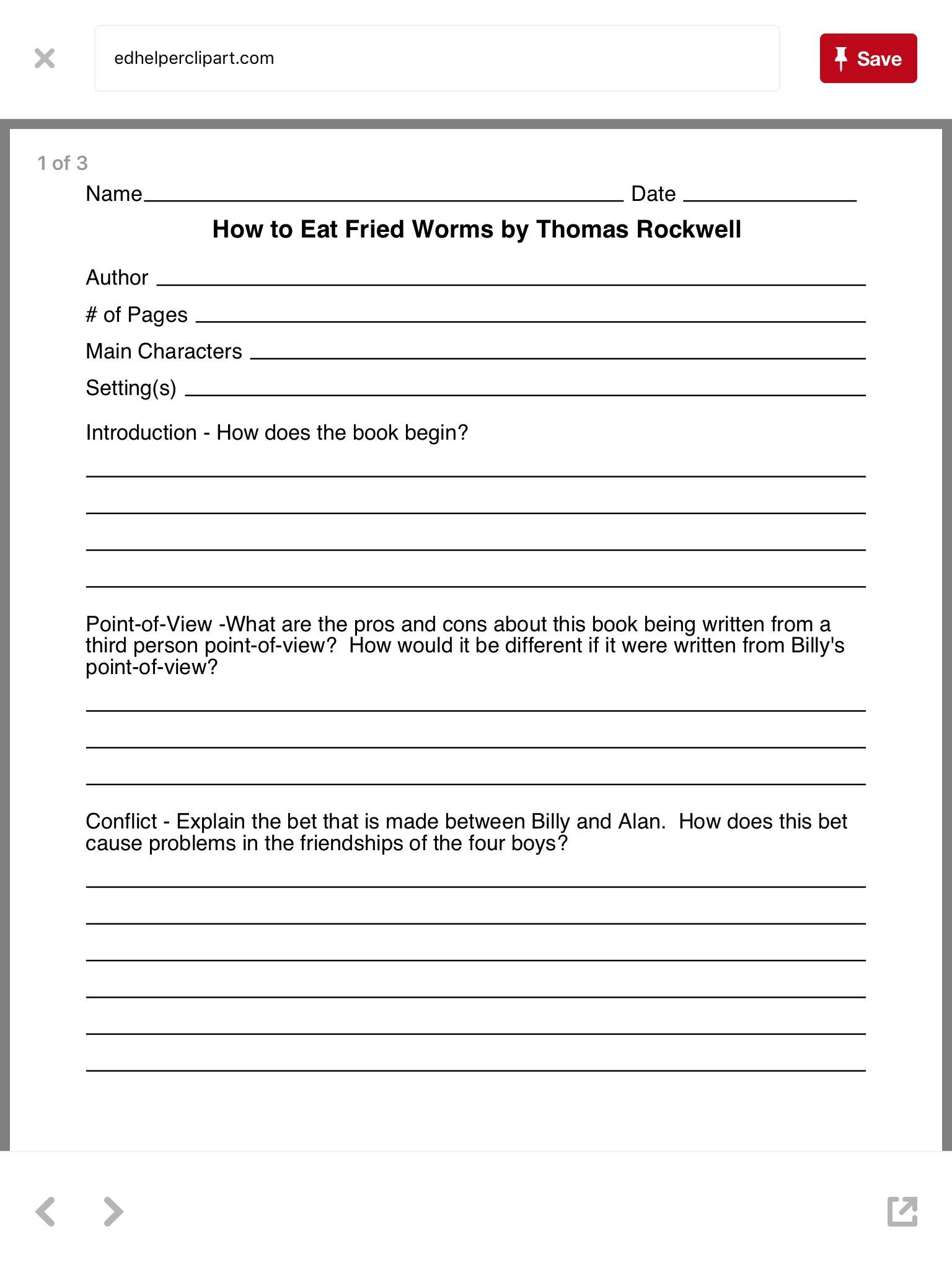 Character and Setting Worksheets Worksheet 1