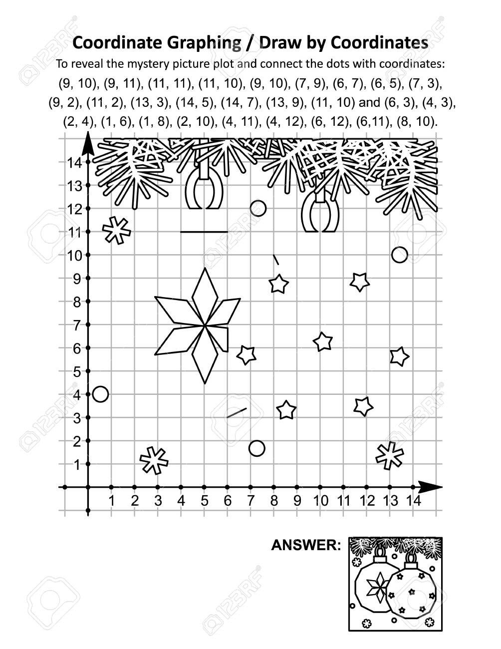 photo stock vector coordinate graphing or draw by coordinates math worksheet with christmas ornaments to reveal the mys