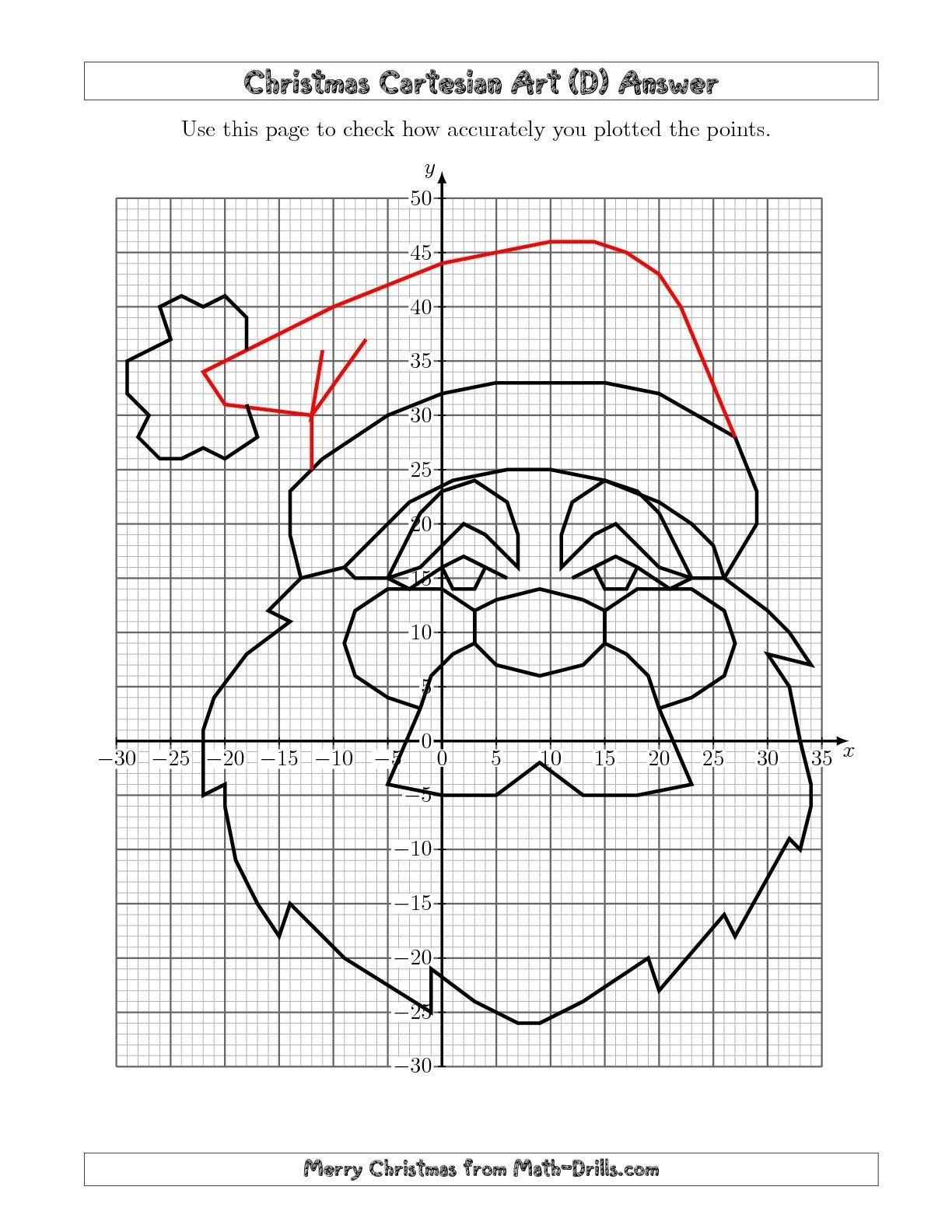 Christmas Coordinates Worksheets the Christmas Cartesian Art Santa D Math Worksheet From