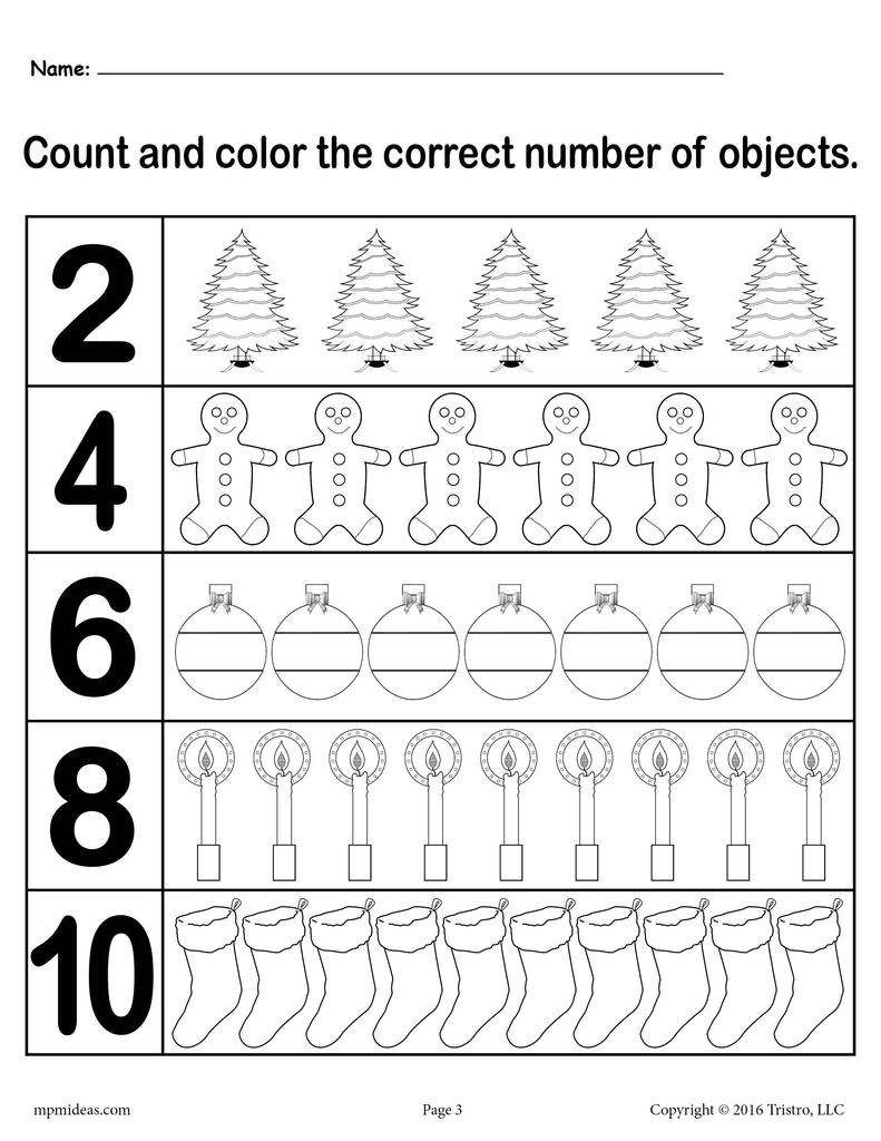 "Christmas Counting Worksheets Kindergarten Christmas themed ""count and Color"" Worksheets 3 Printable Versions"