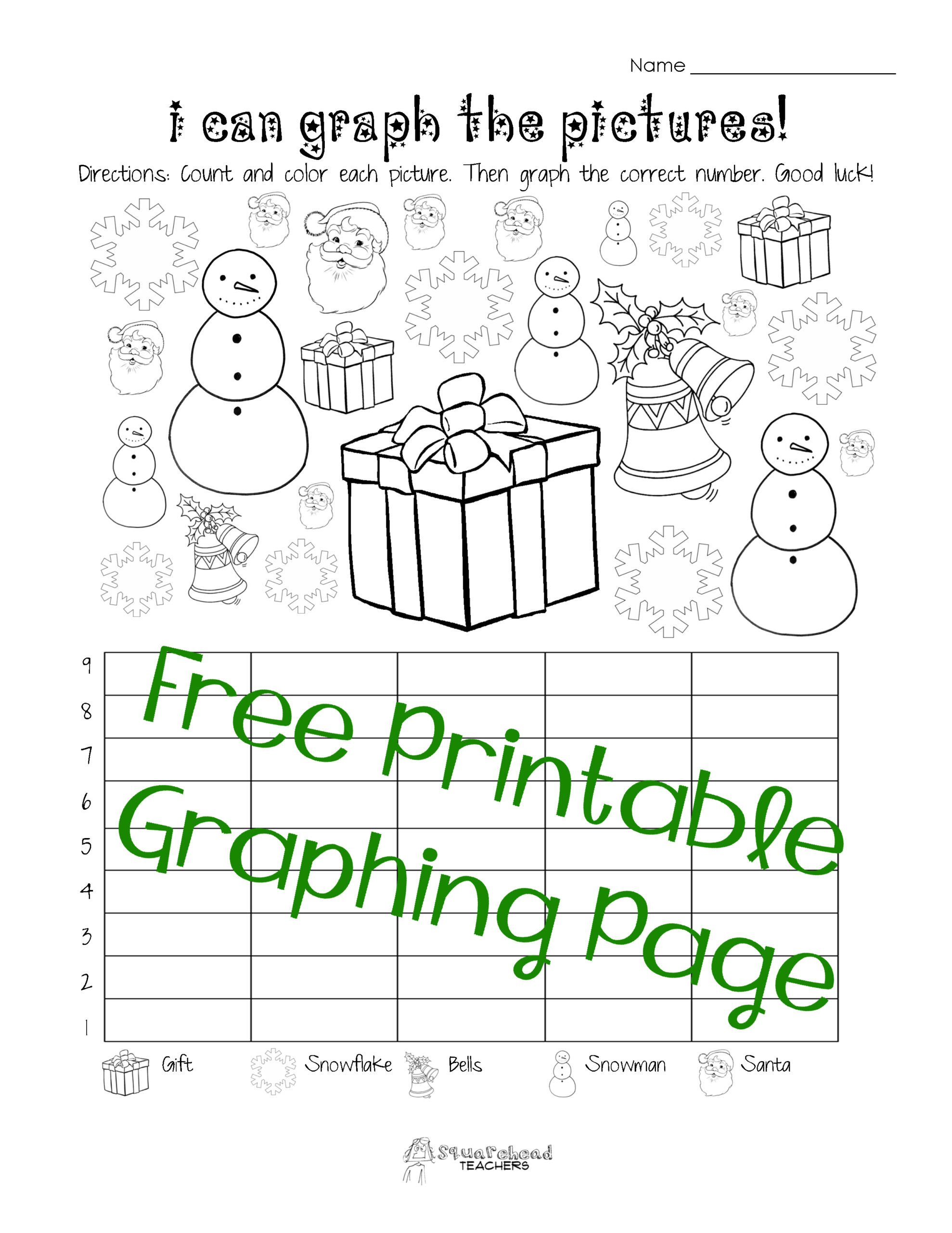 Christmas Counting Worksheets Kindergarten Free Christmas Winter Graphing Worksheet Kindergarten First