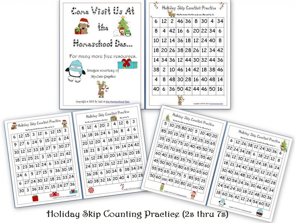 Christmas Counting Worksheets Kindergarten Free Holiday Skip Counting Pages 2s Thru 7s Homeschool Den