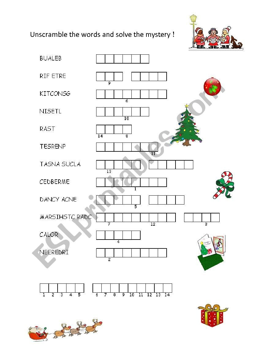 Christmas Unscramble Worksheets Christmas Scrambled Words Esl Worksheet by Eileeroy