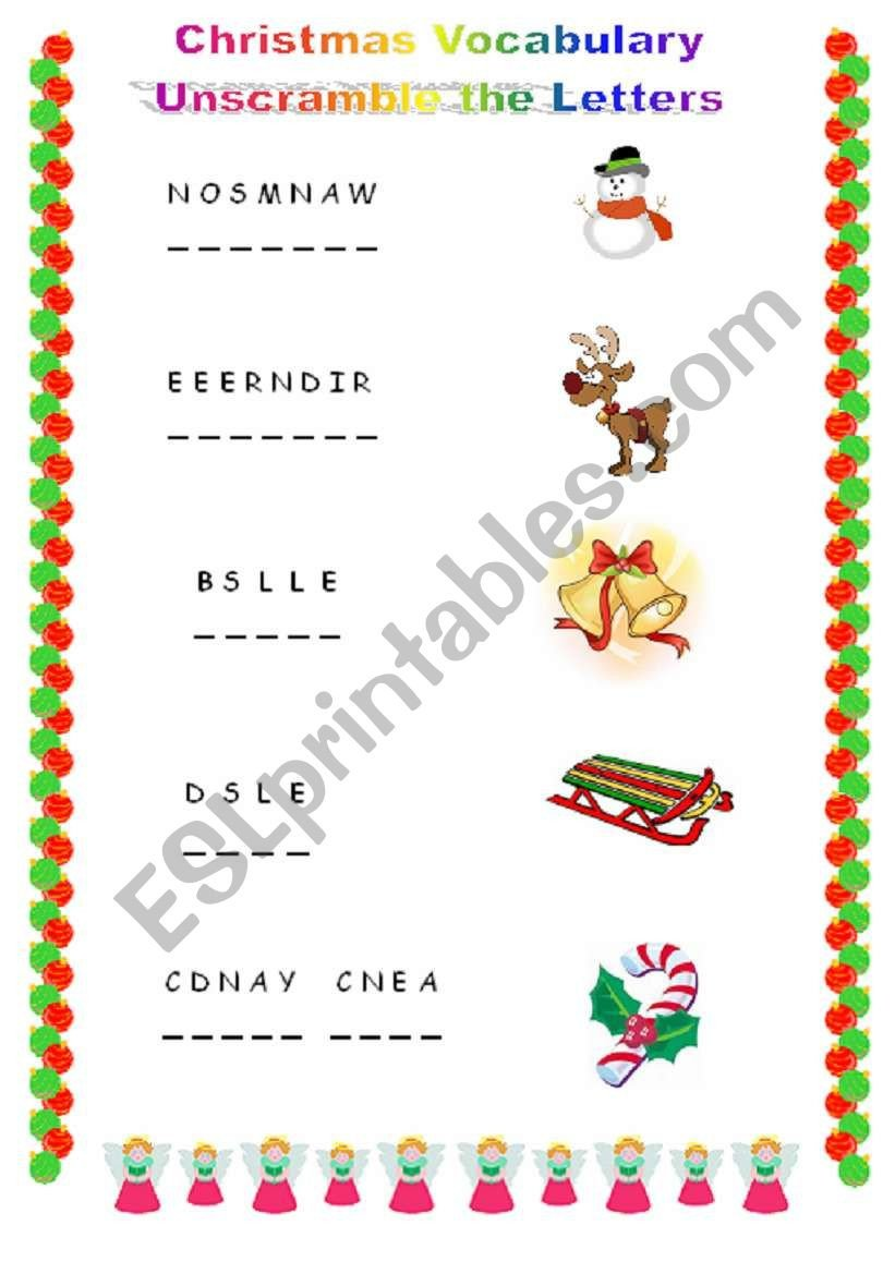 Christmas Unscramble Worksheets Christmas Unscramble the Letters Esl Worksheet by Tracytsoi
