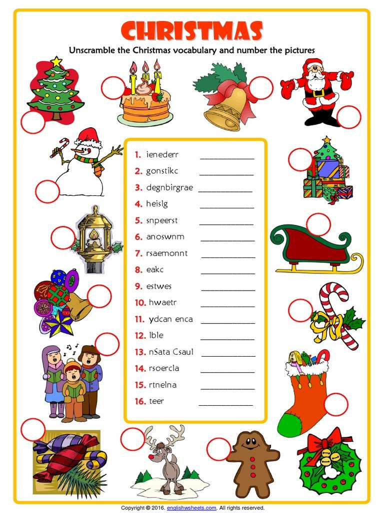 Christmas Unscramble Worksheets Christmas Unscramble the Words Esl Vocabulary Worksheet