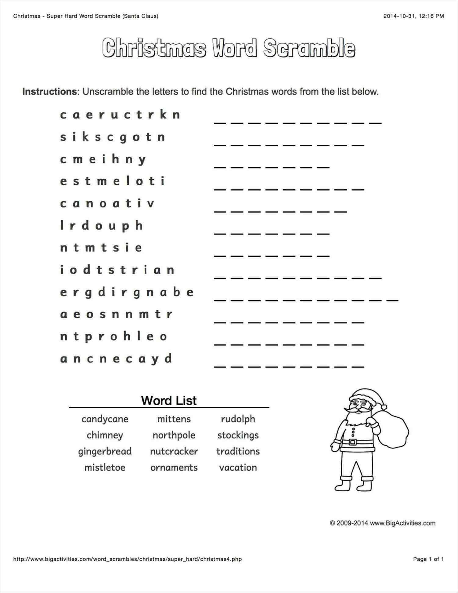 Christmas Unscramble Worksheets Xmastte