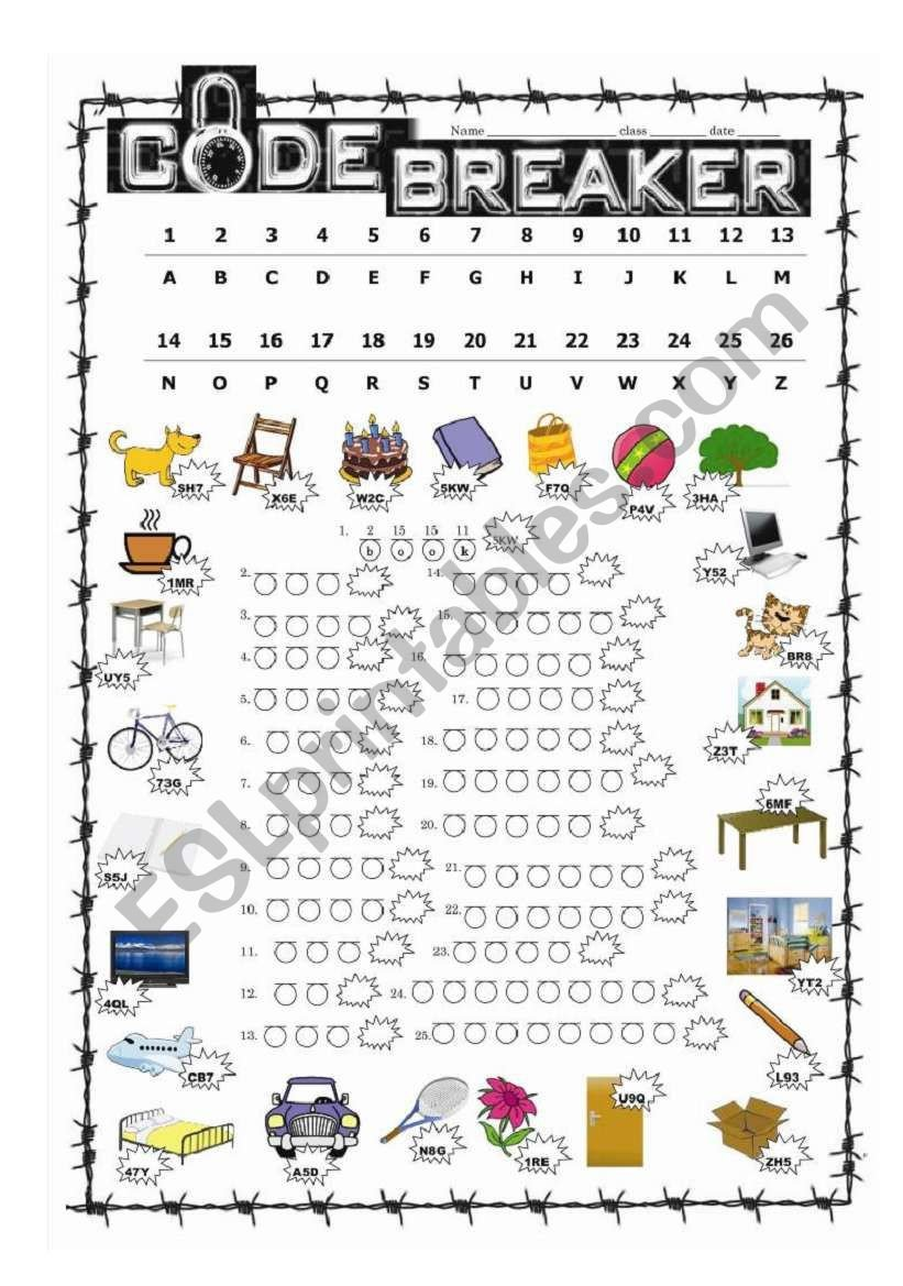 Code Breaking Worksheets Code Breaker Esl Worksheet by Cktr