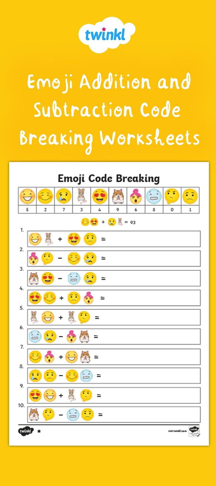 Code Breaking Worksheets Emoji Addition and Subtraction Code Breaking Worksheets