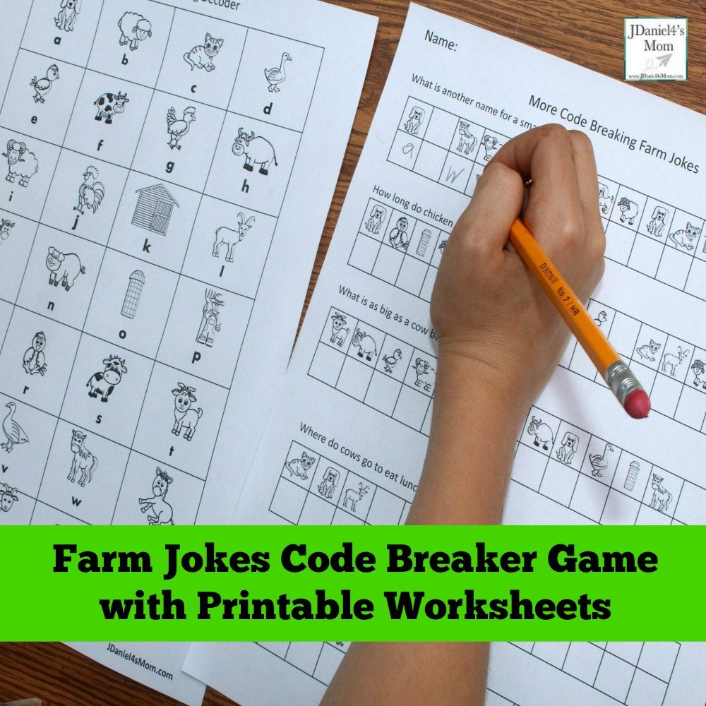 Code Breaking Worksheets Farm Jokes Code Breaker Game with Printable Worksheets