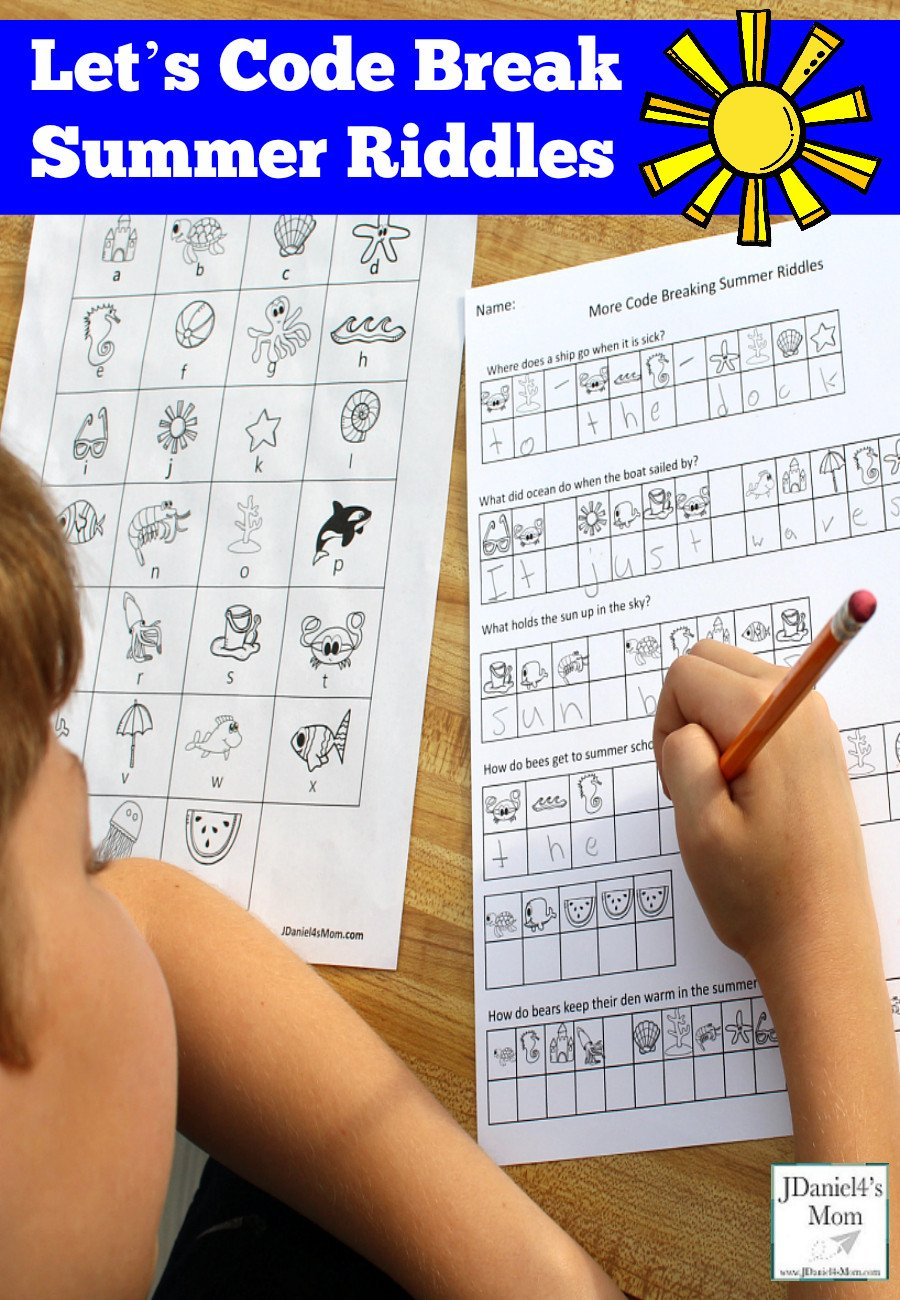 Code Breaking Worksheets Let S Code Break Summer Riddles