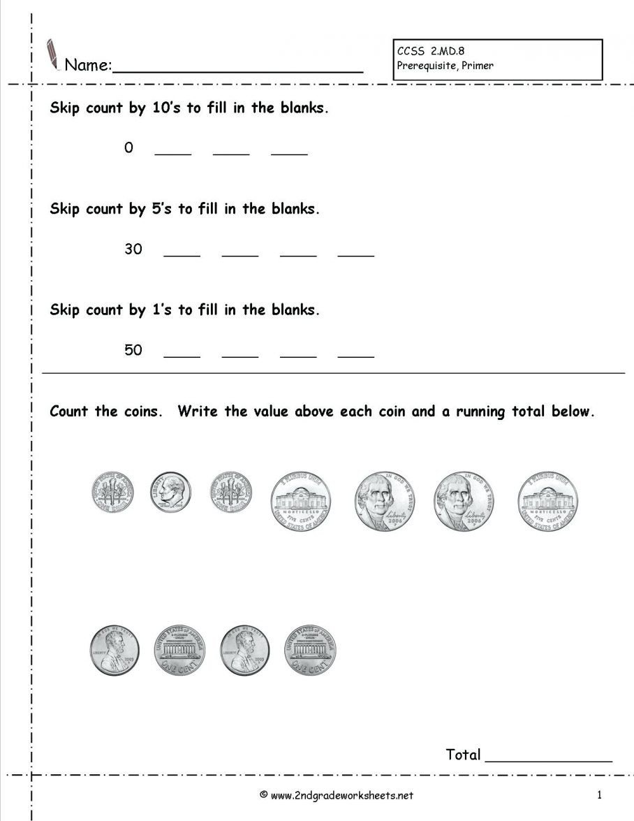 Coin Worksheets First Grade Printable Free Math Worksheets First Grade Counting Money