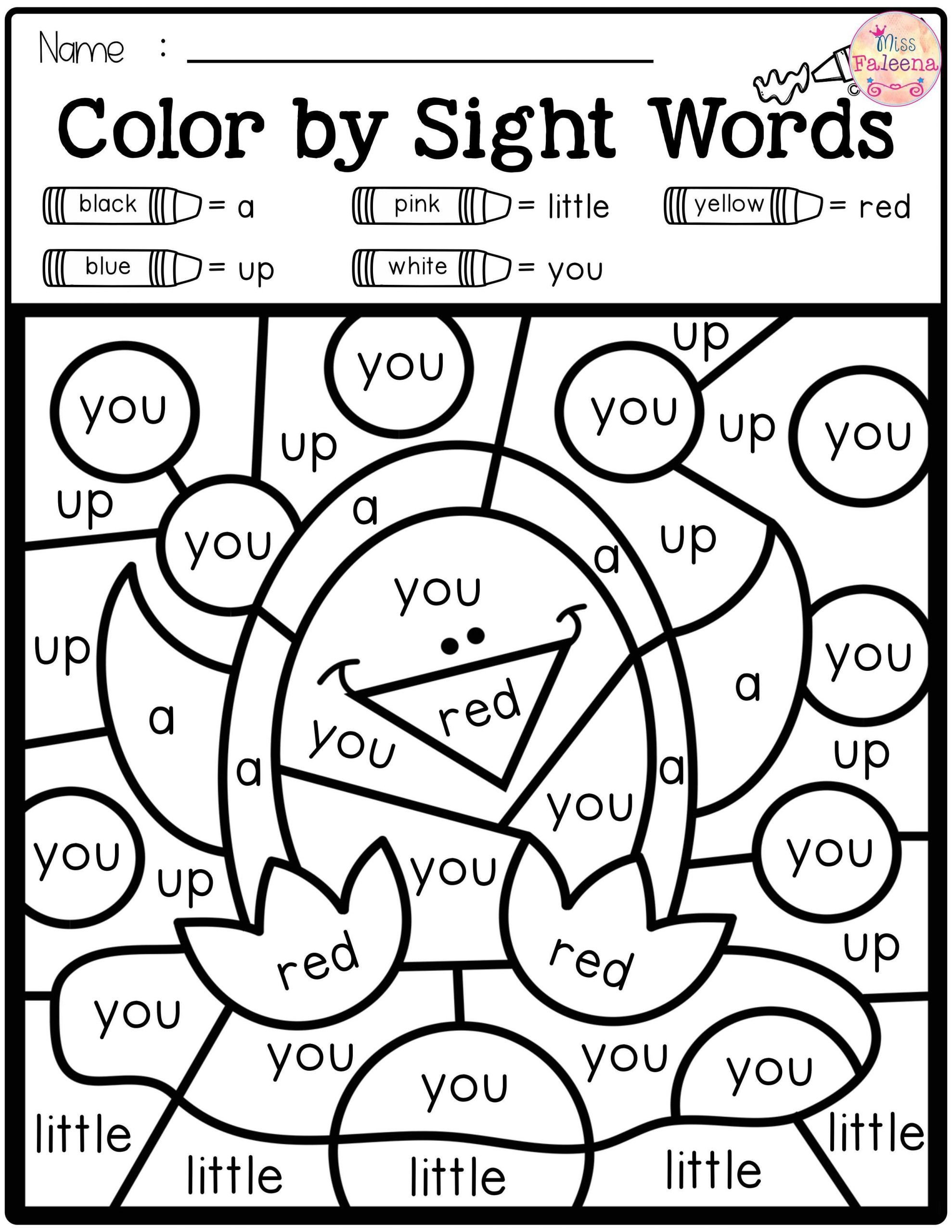 Color by Word Worksheets Coloring Freeight Word Pages Color by Code Words Pre