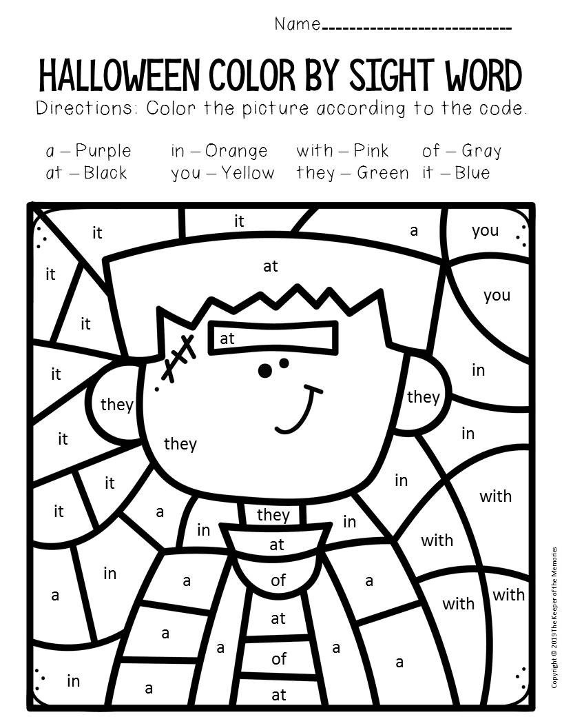 Frankenstein Color by Sight Word Halloween Kindergarten Worksheets