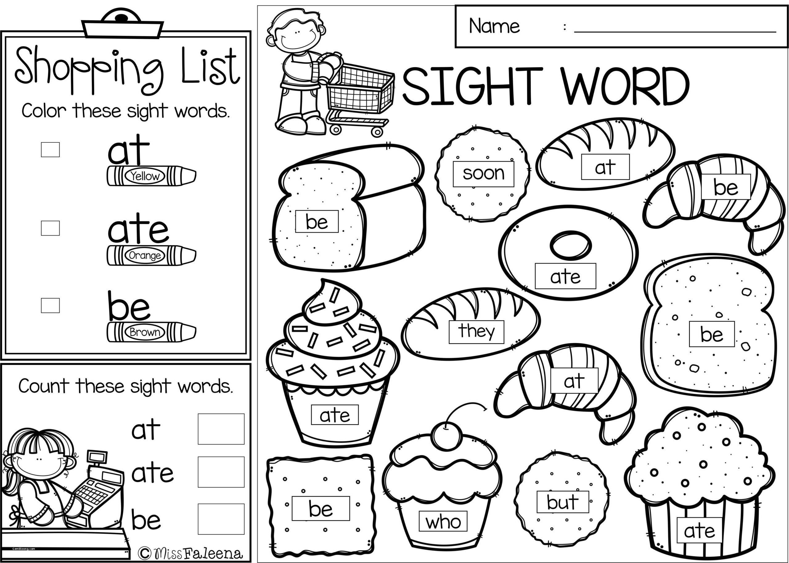 Color by Word Worksheets Free Sight Word Coloring Pages Book Printable Pagess First