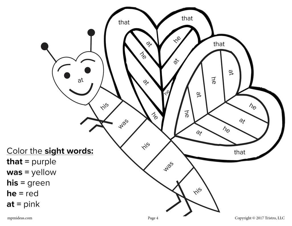 Color by Word Worksheets Valentine S Day Color by Sight Word 4 Printable Worksheets