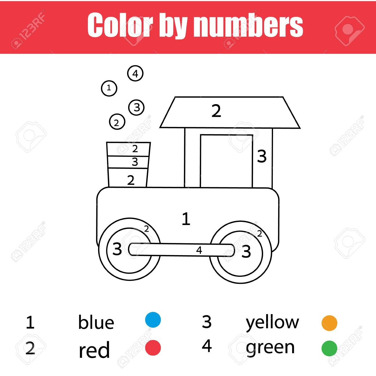 Color Red Worksheets for toddlers Coloring Page with toy Train Color by Numbers Printable Worksheet