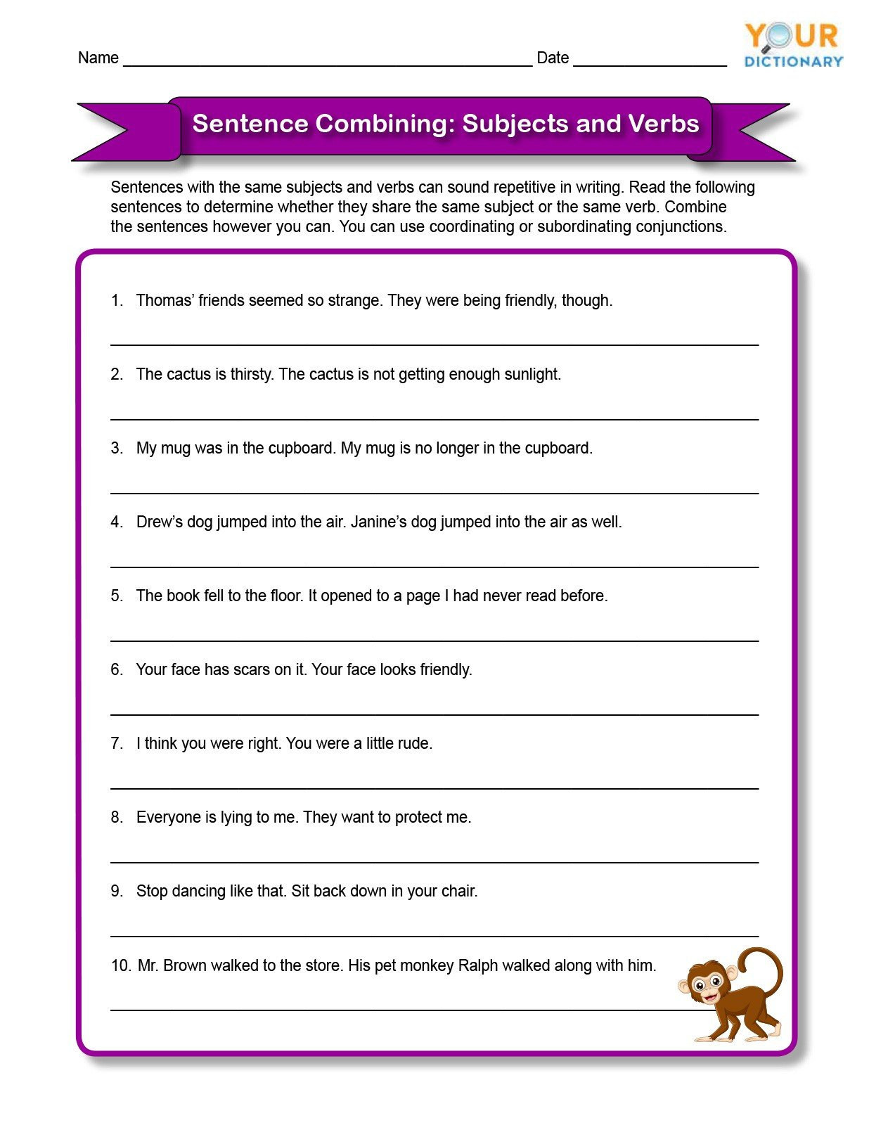Combining Sentences Worksheets 5th Grade Sentence Bining Worksheets