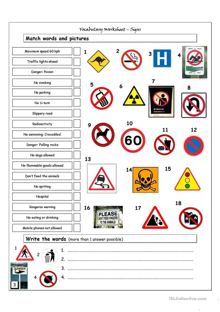 vocabulary matching worksheet signs fun activities games 3807 1