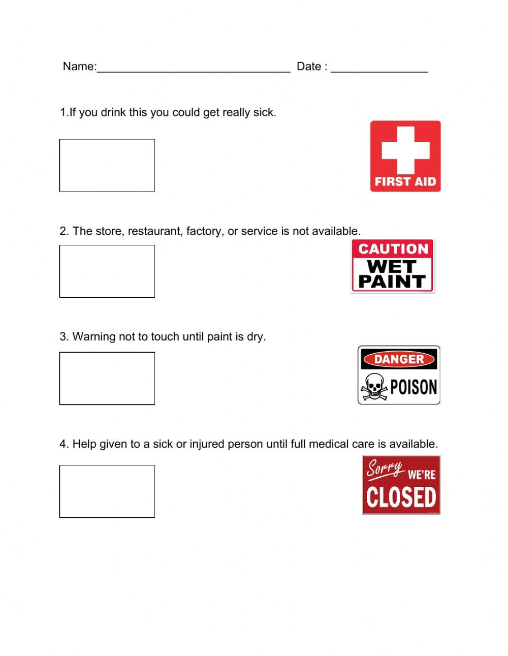 Community Signs Worksheets Munity Signs Interactive Worksheet